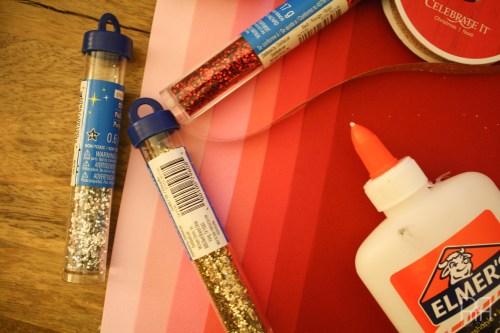 DIY glitter bird garland supplies