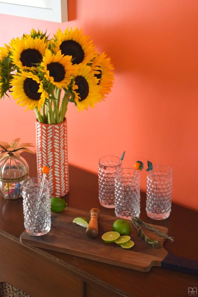 Dining room with sunflowers
