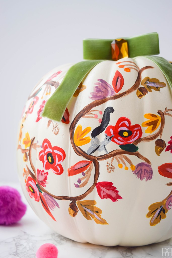 close-up of rifle paper co painted pumpkin