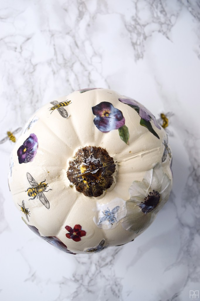 Decoupage Pumpkins with bees and flowers