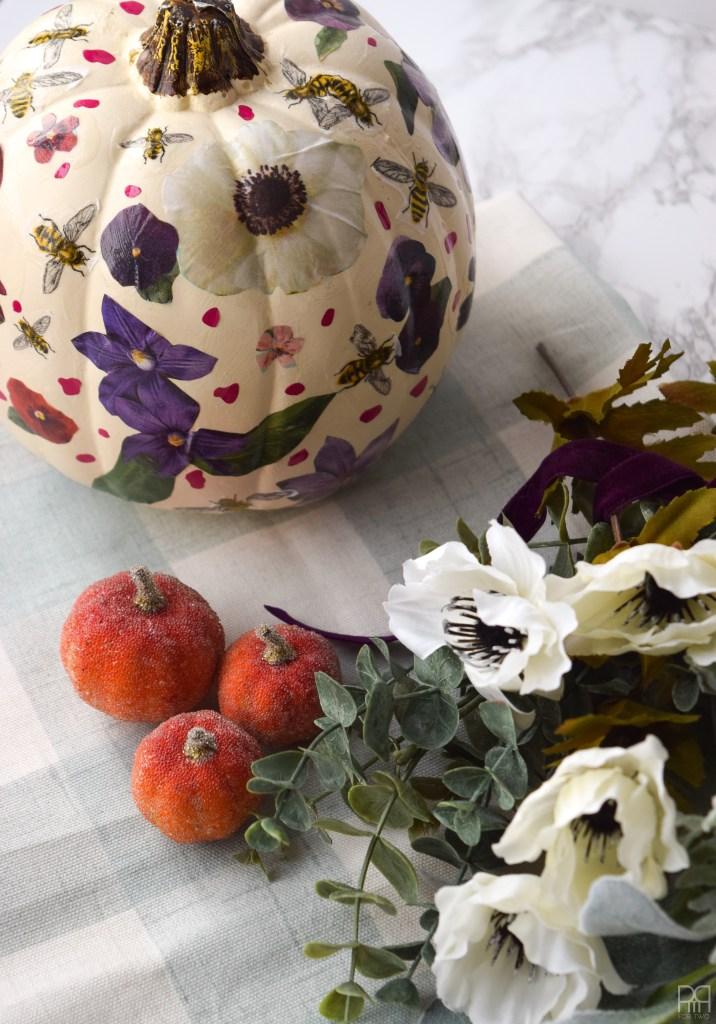 Decoupage Pumpkins and flowers