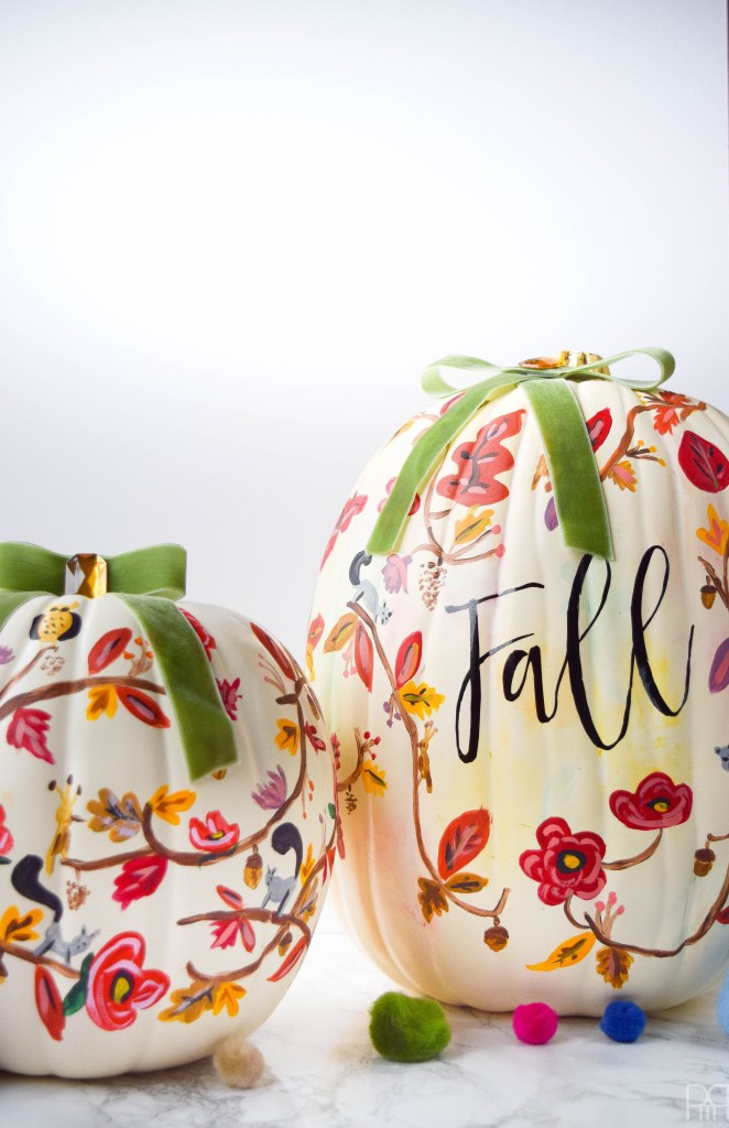 painted floral fall white pumpkins