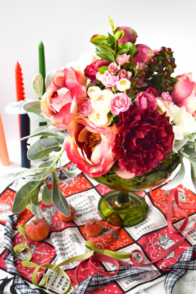 DIY Fall Floral Centrepiece with ribbon