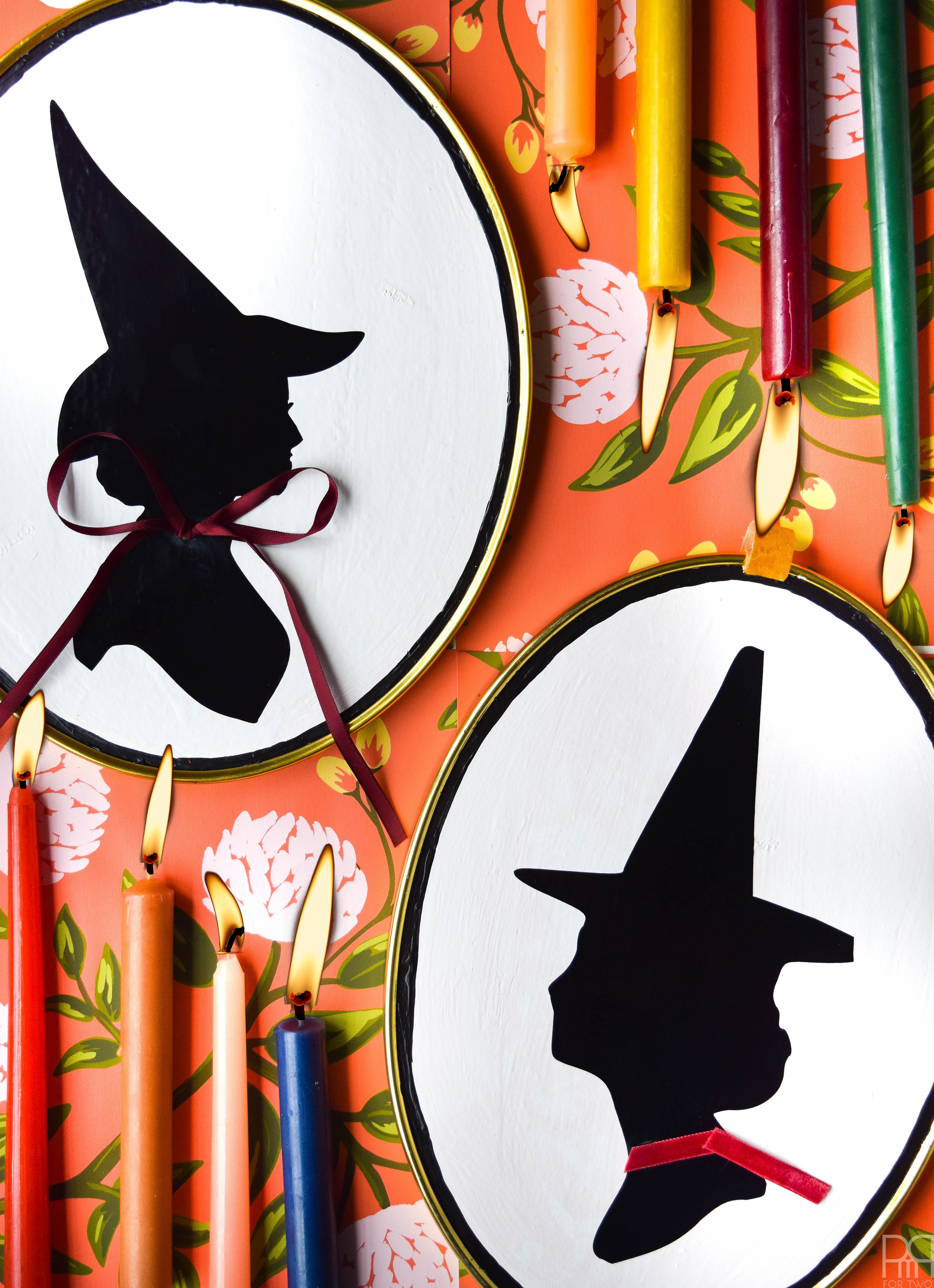 Make your own DIY Witch Silhouette Decor using your Cricut and thrifted frames. Halloween decor doesn't have to be cheesy to look good.