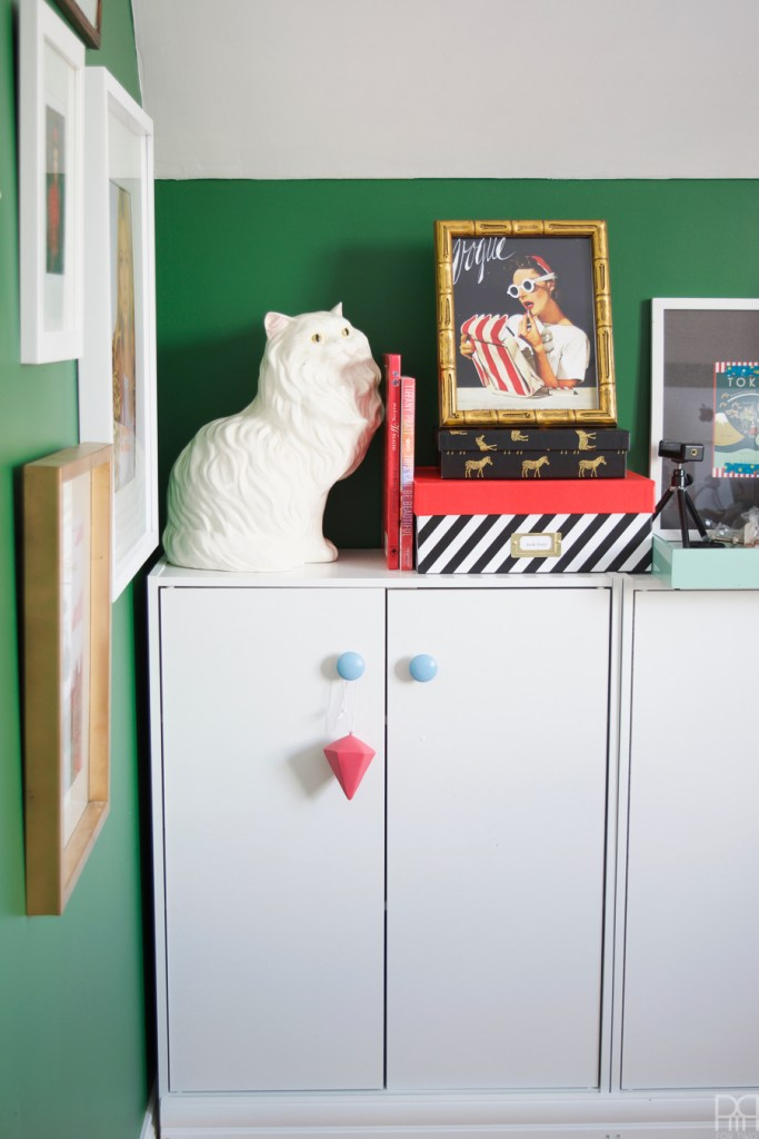 Home Office Reveal - The Green Grotto with white cat statue