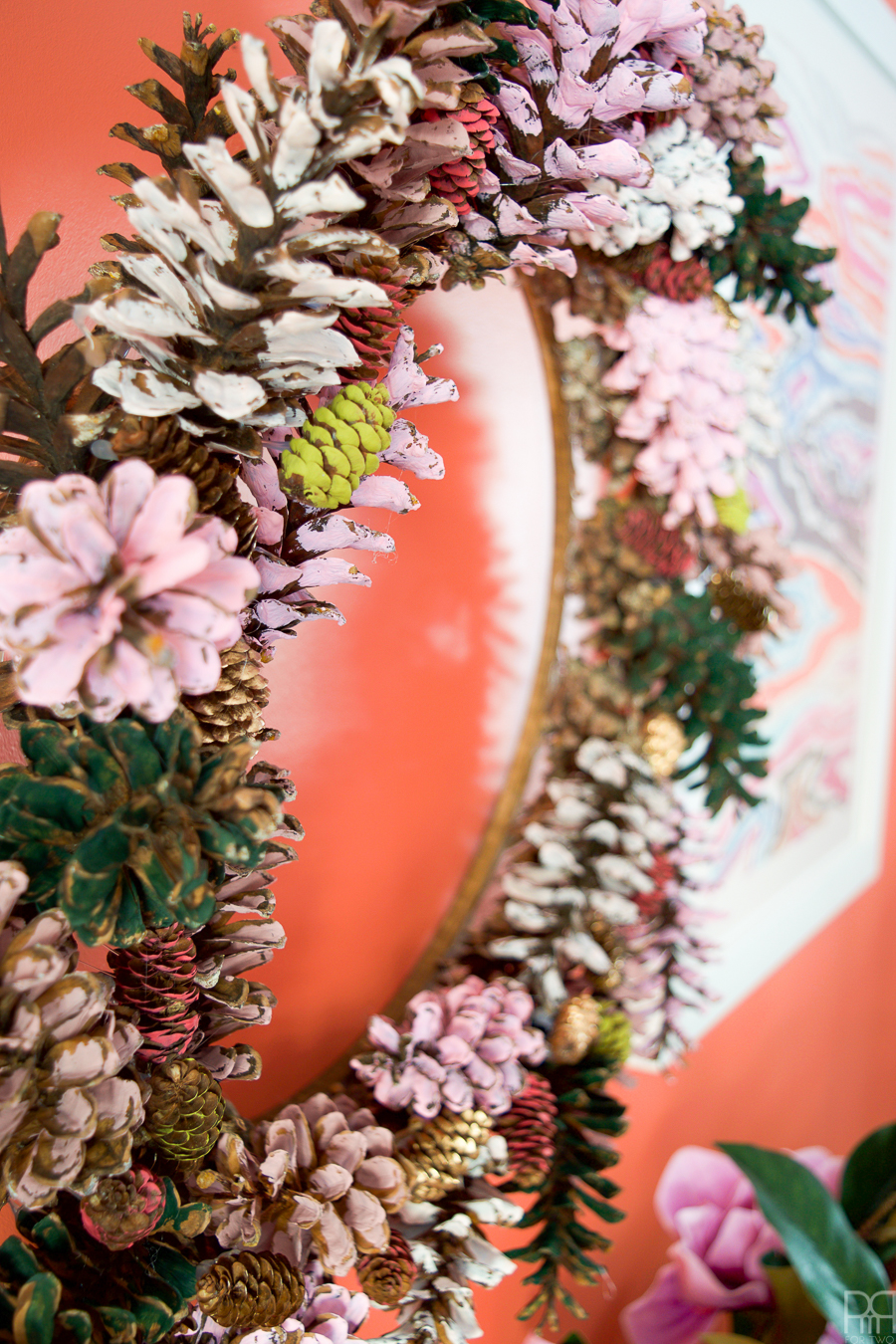 Painted Pinecone Wreath by PMQ for Two