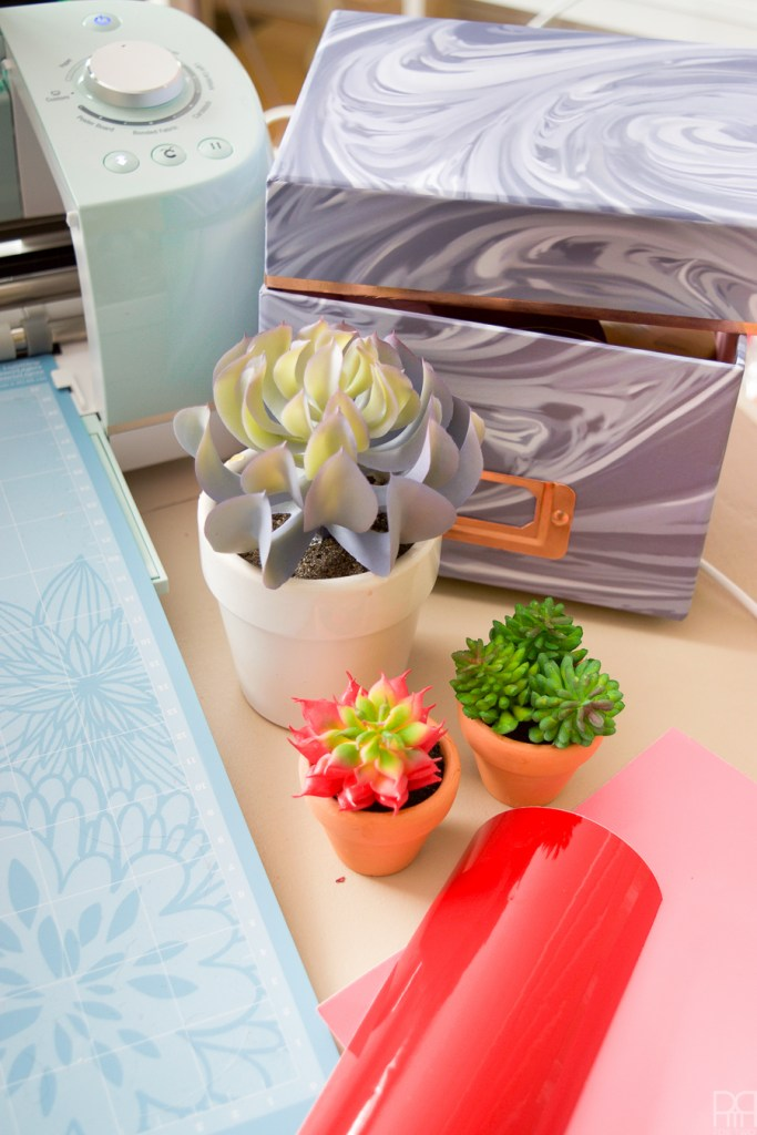 What do you do with all those vinyl scraps?! You make Vinyl Face Succulent Planters