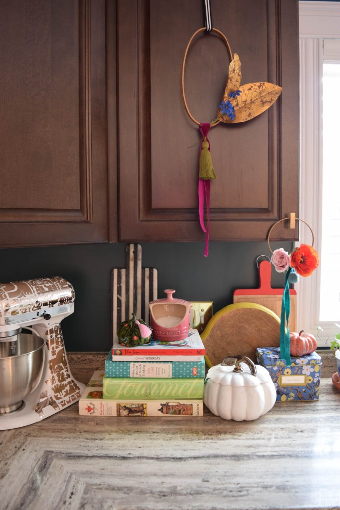 fall decor on kitchen counter