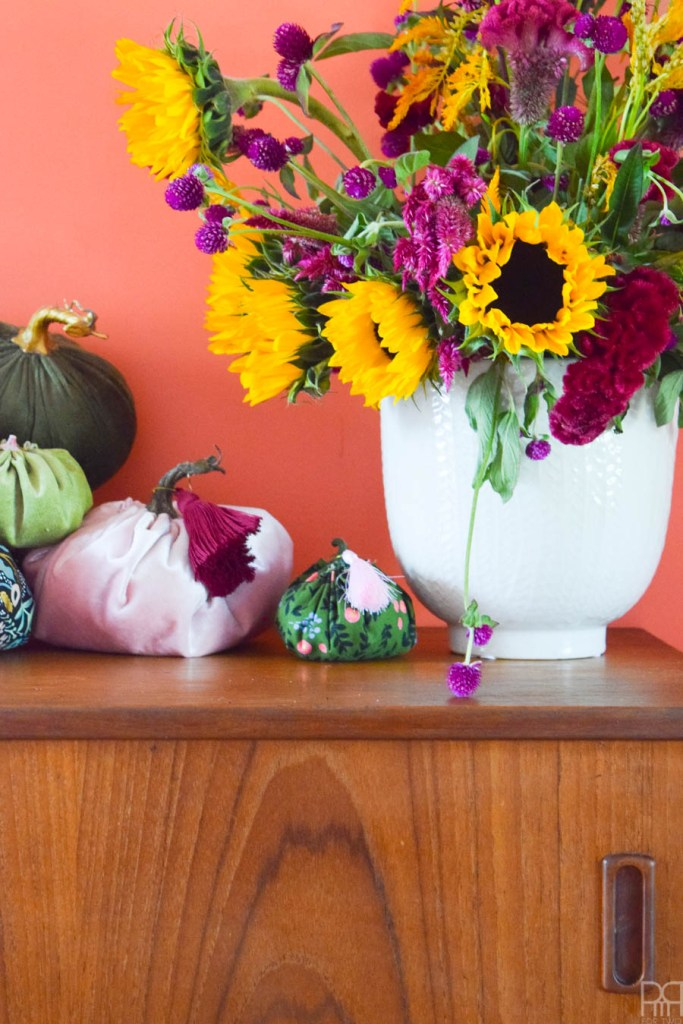 fall flowers in what bowl on sideboard