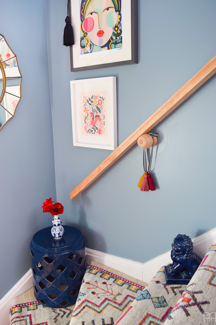 Renter Friendly Stairway RunnerUsing runners from Rugs USA I gave our staircase a makeover in a renter friendly way. Our staircase now looks like the main artery in our colourful and bold home instead of a space to hide. Head to the blog to see what products I used and why it's renter friendly.