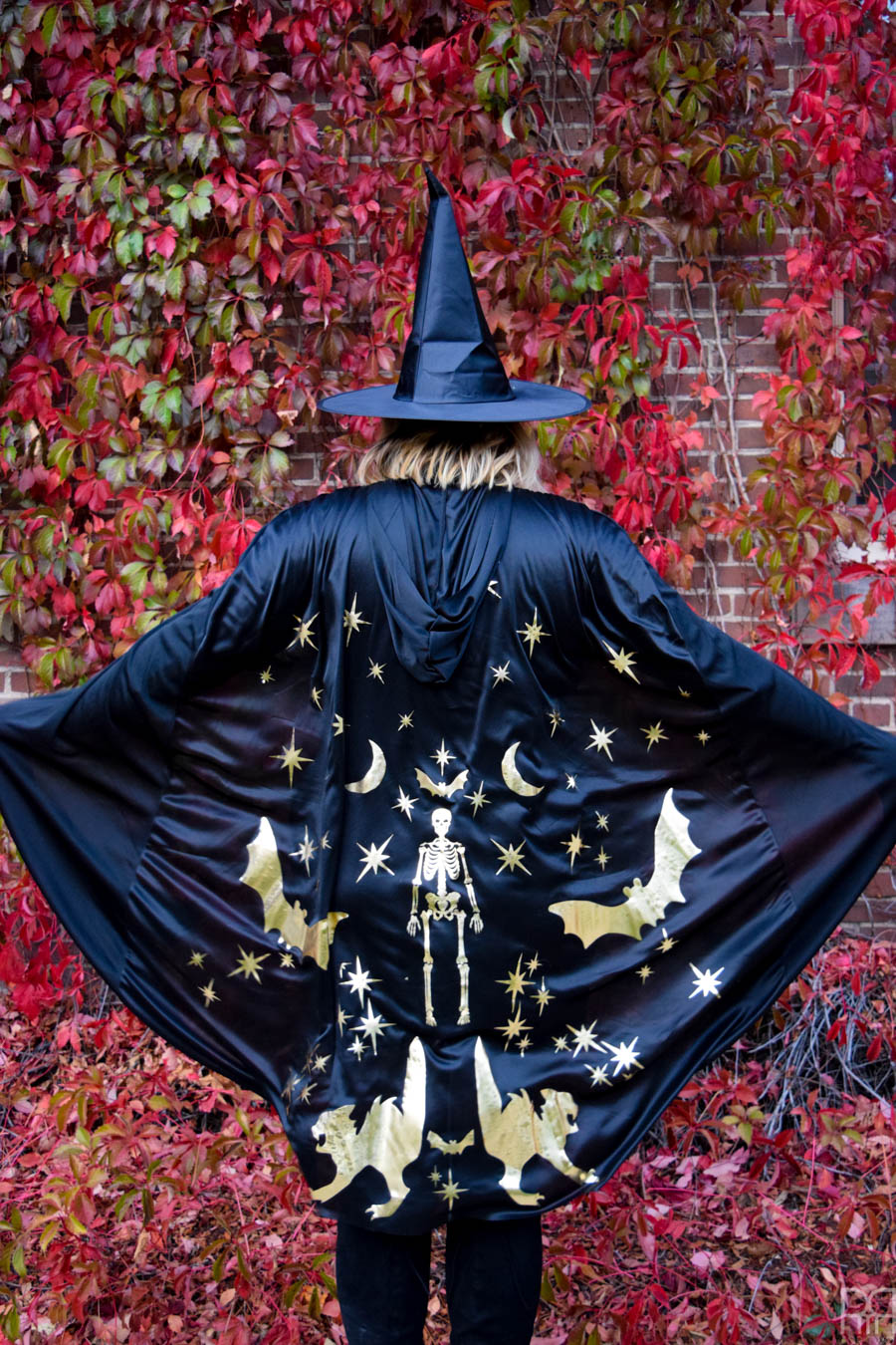 the back of a witches cape in front of a red leafwall