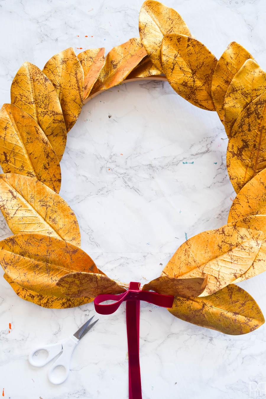 Gold Leaf Magnolia Wreath