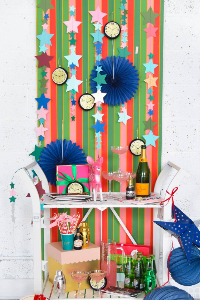 Cricut Made NYE Party Backdrop + Cocktail Bar