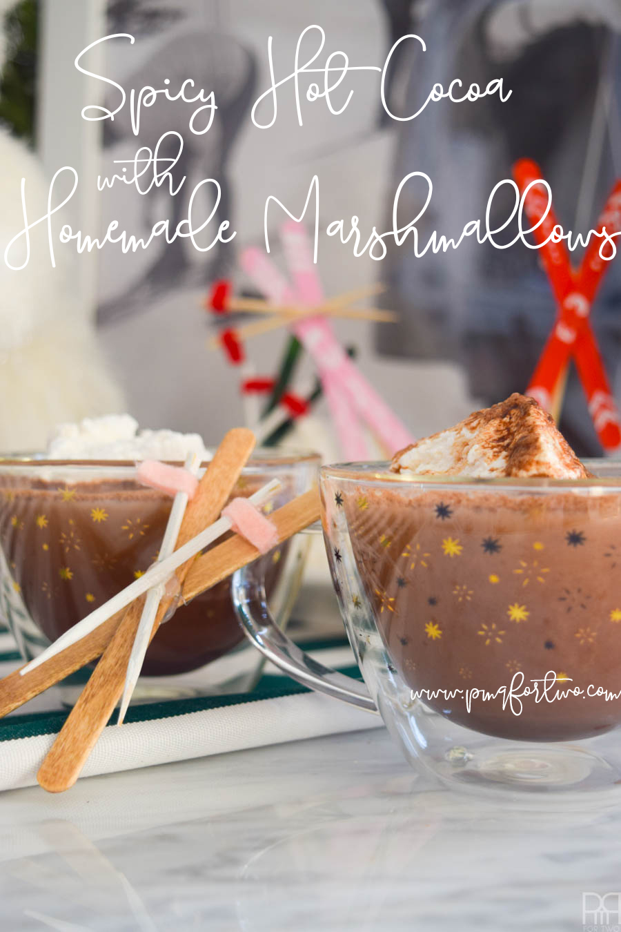 Cuddle up with a warm cup of Spicy Hot Chocolate & Homemade Marshmallows this winter. The recipe is dead simple, super tasty, and very appropriate for winter activities.