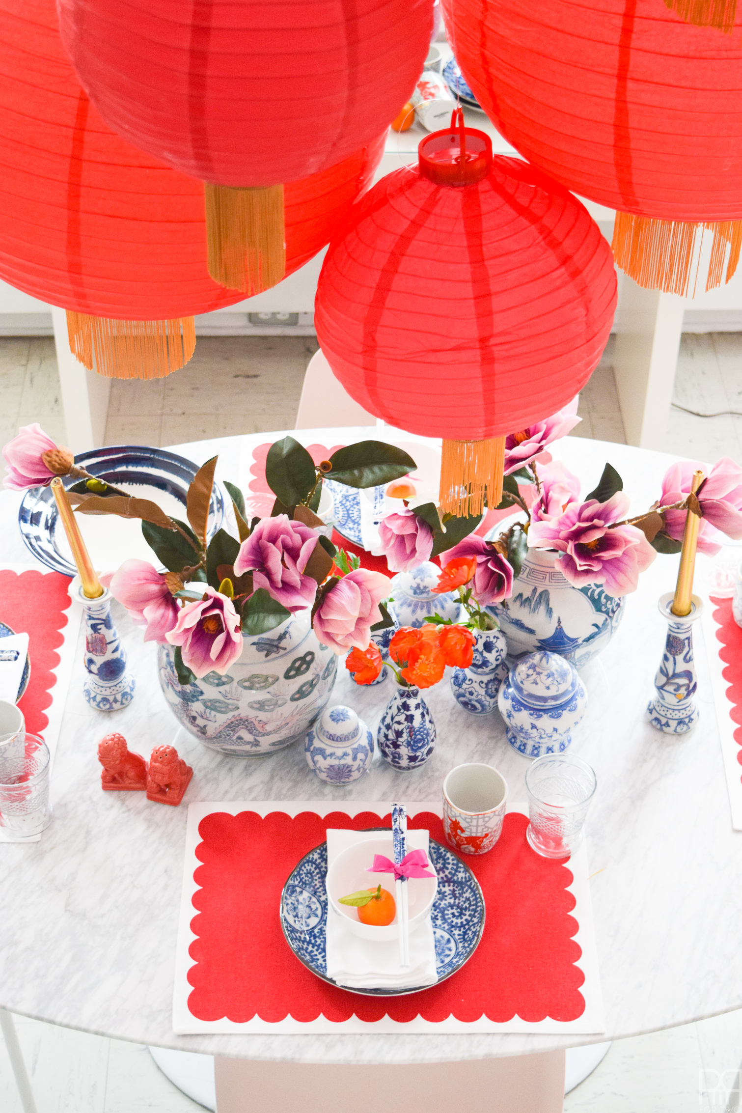 Kung Hey Fat Choi! Set a Glam Lunar New Year Tablescape using finds from your local World Market, and lots of big red paper lanterns.