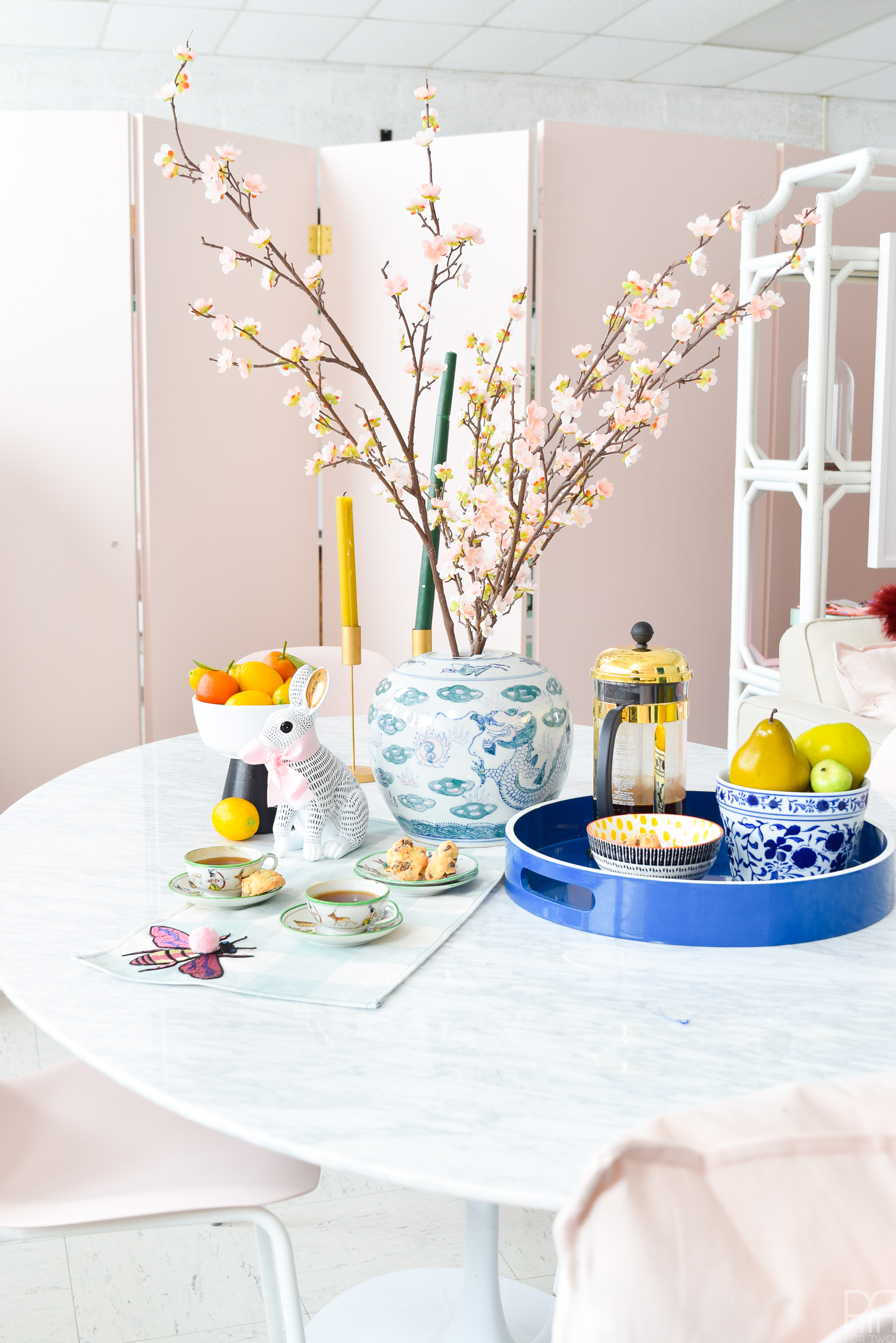 Eclectic Spring & Easter Decor means lots of bunnies with bowties, cherry blossoms and beautiful blooms, as well as thrifted chinoiserie and vibrant accessories.