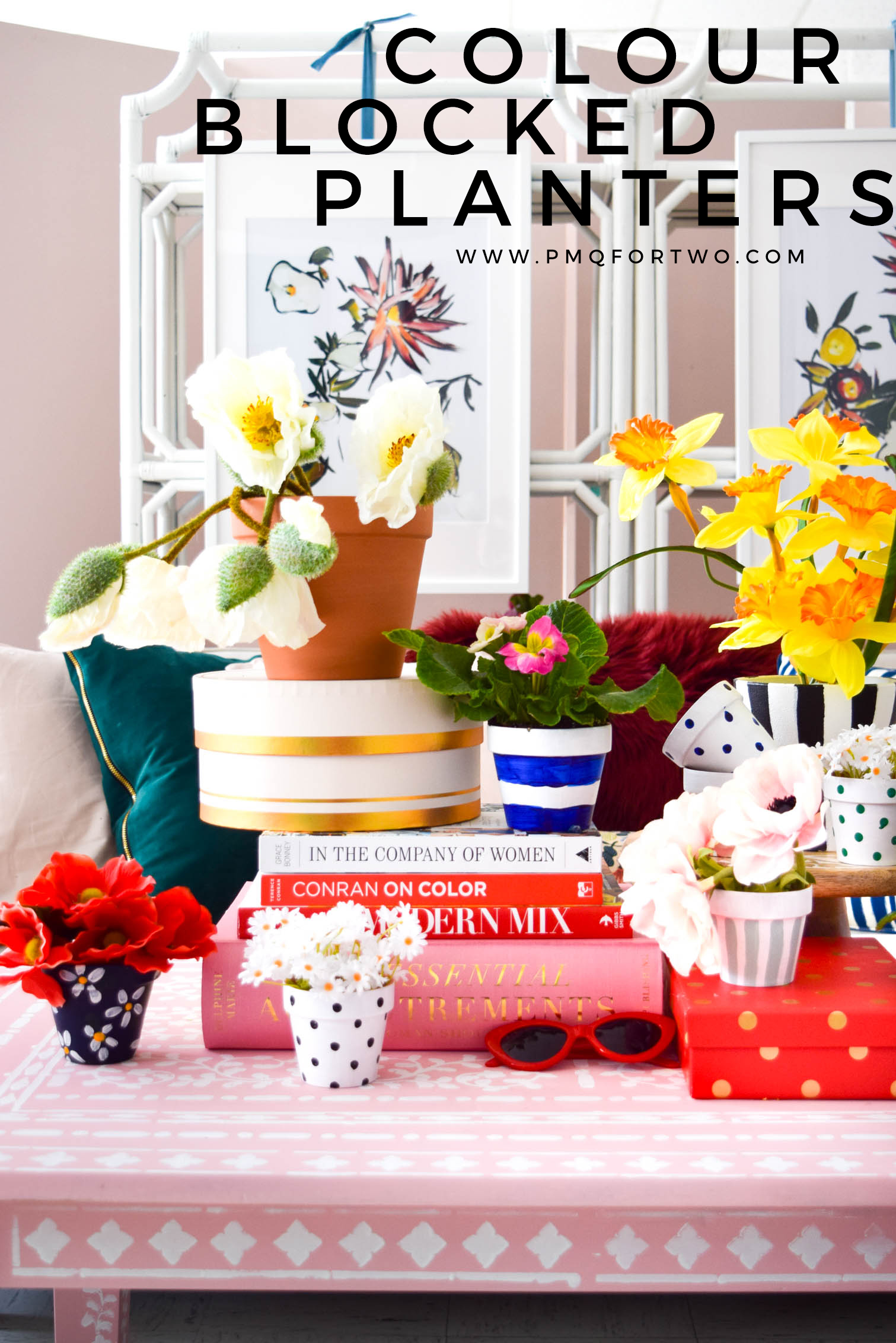 Colour Blocked Planters totally inspired by Kate Spade's glam floral prints and classic colours. By using DecoArt's line of outdoor paints you'll be able to move them outdoors once the weather changes.