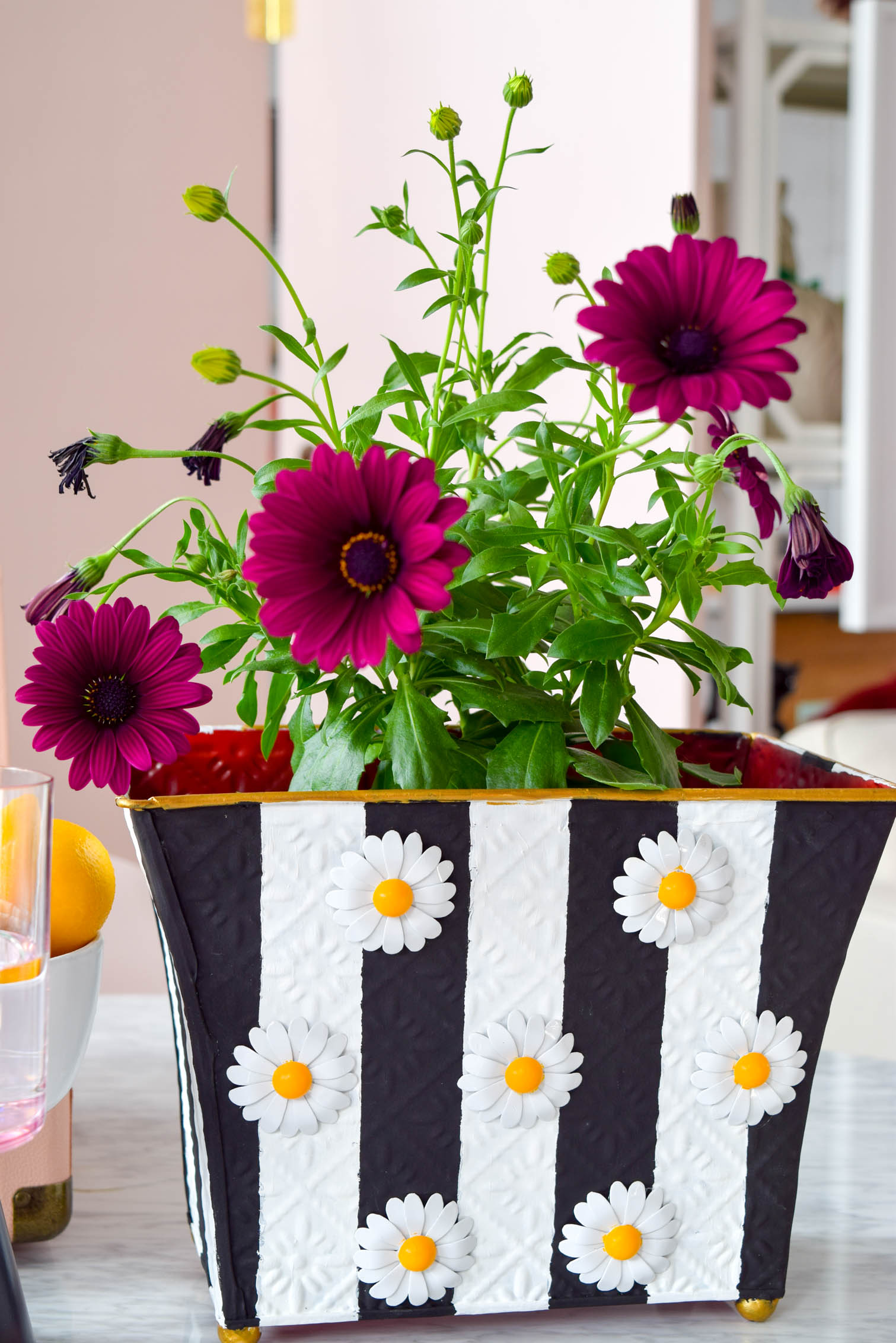 My mod DIY striped daisy planter is not only bold, but super retro, and lots of fun. All you need is paint and some fun metallic flowers. Grab all the deets on the blog!