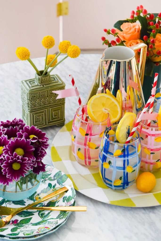 DIY Painted Plaid & Lemon Glasses