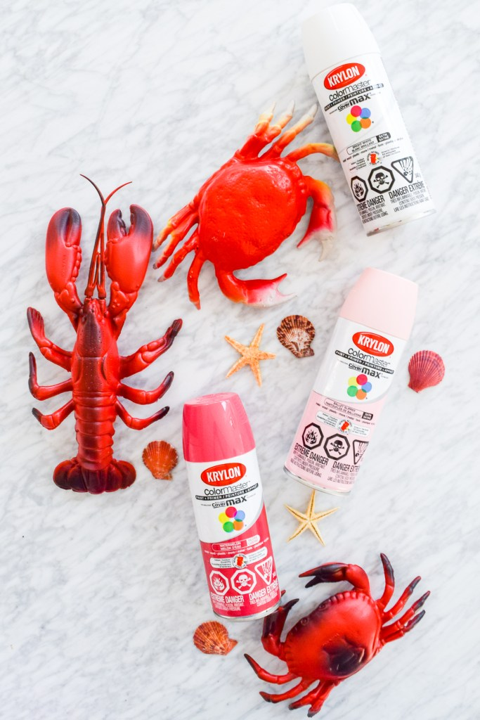 plastic seafood and krylon spray paint cans