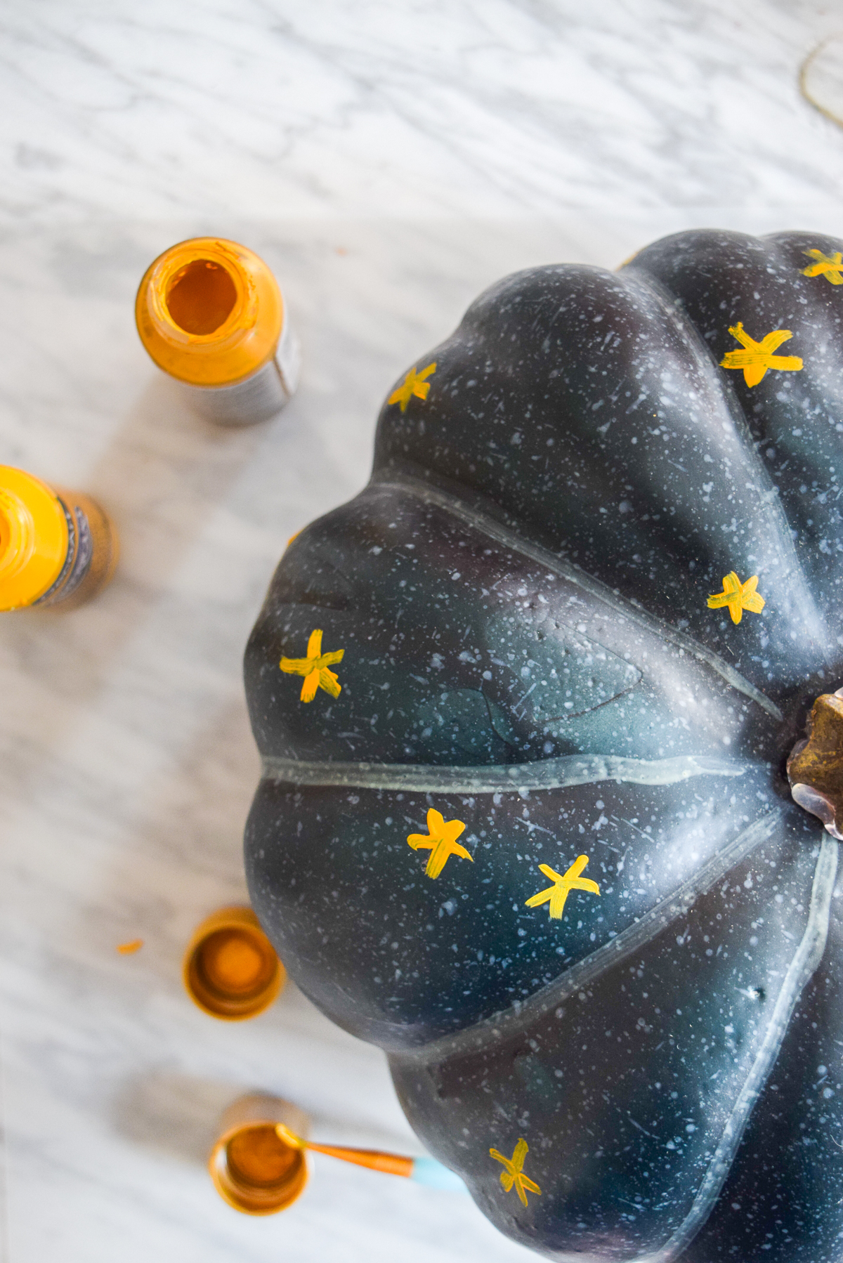 blue pumpkin with painted stars