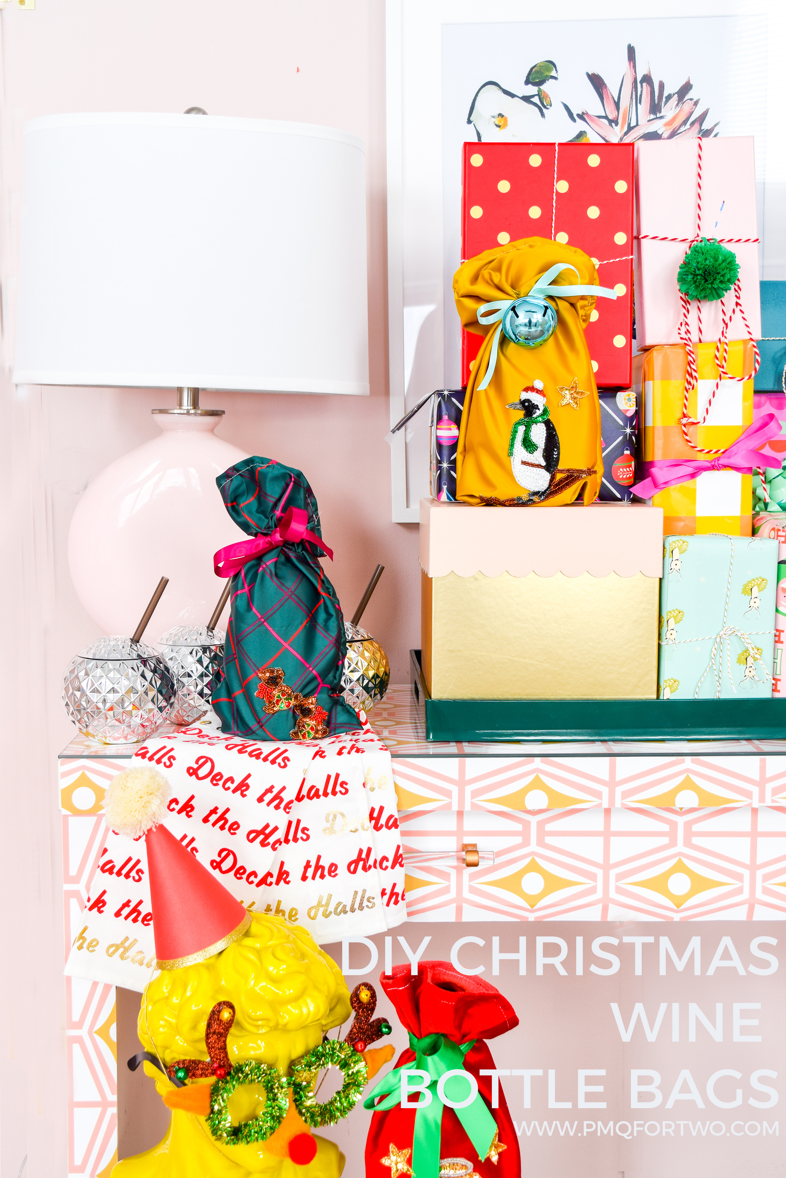 Ho ho ho! Santa wants more than just milk and cookies this year, he wants a fancy bottle of something something — and it better come in a DIY Christmas Wine Bottle Bag with skiing Penguin Applique!
