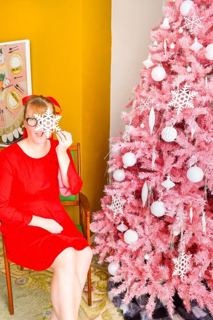 Retro Pink Christmas Tree