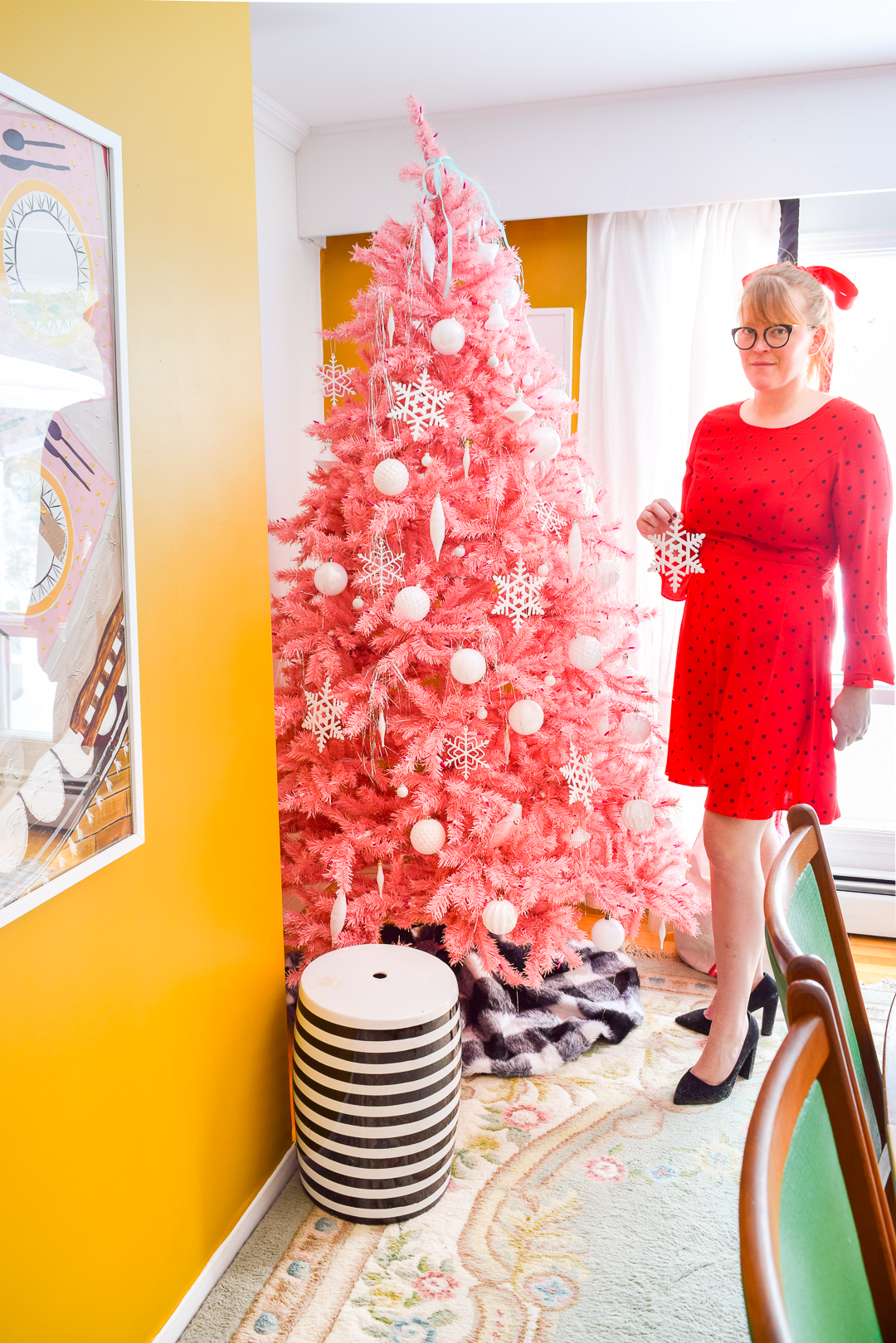 Here are some fabulous people posing next to Christmas trees - a retro homage. (inspired by the sassy women of the past)