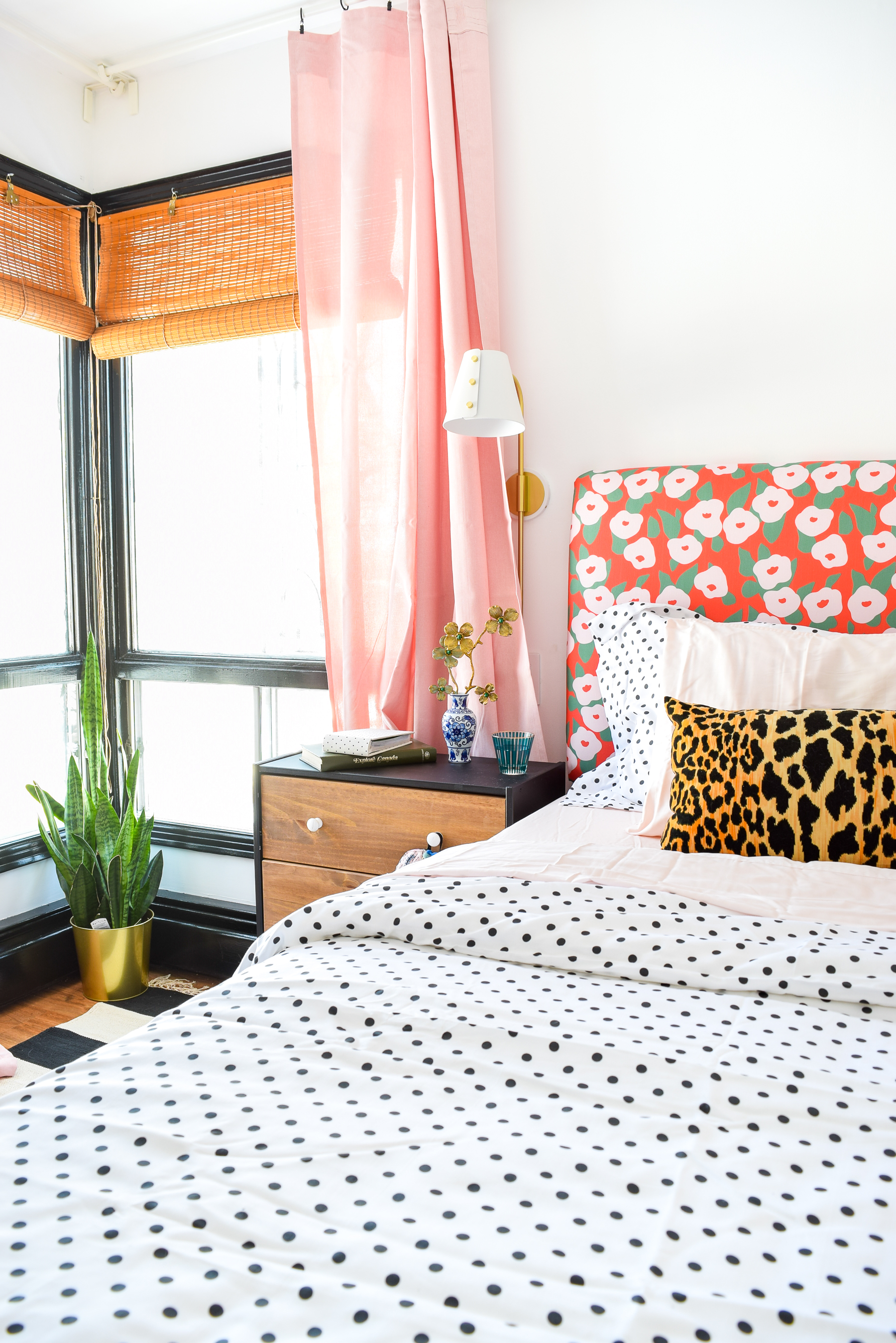 Our Floral Glam Master Bedroom + Closet is a feast for the eyes! Using a simple palette, but lots of pattern and metallics, we created our own oasis.