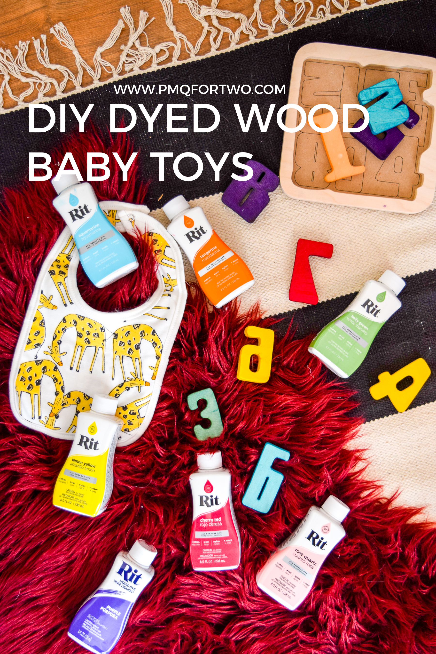 Dye natural wood toys to create one of a kind, colourful pieces as gifts, or for your own kid! Dying wood is easier than you think.