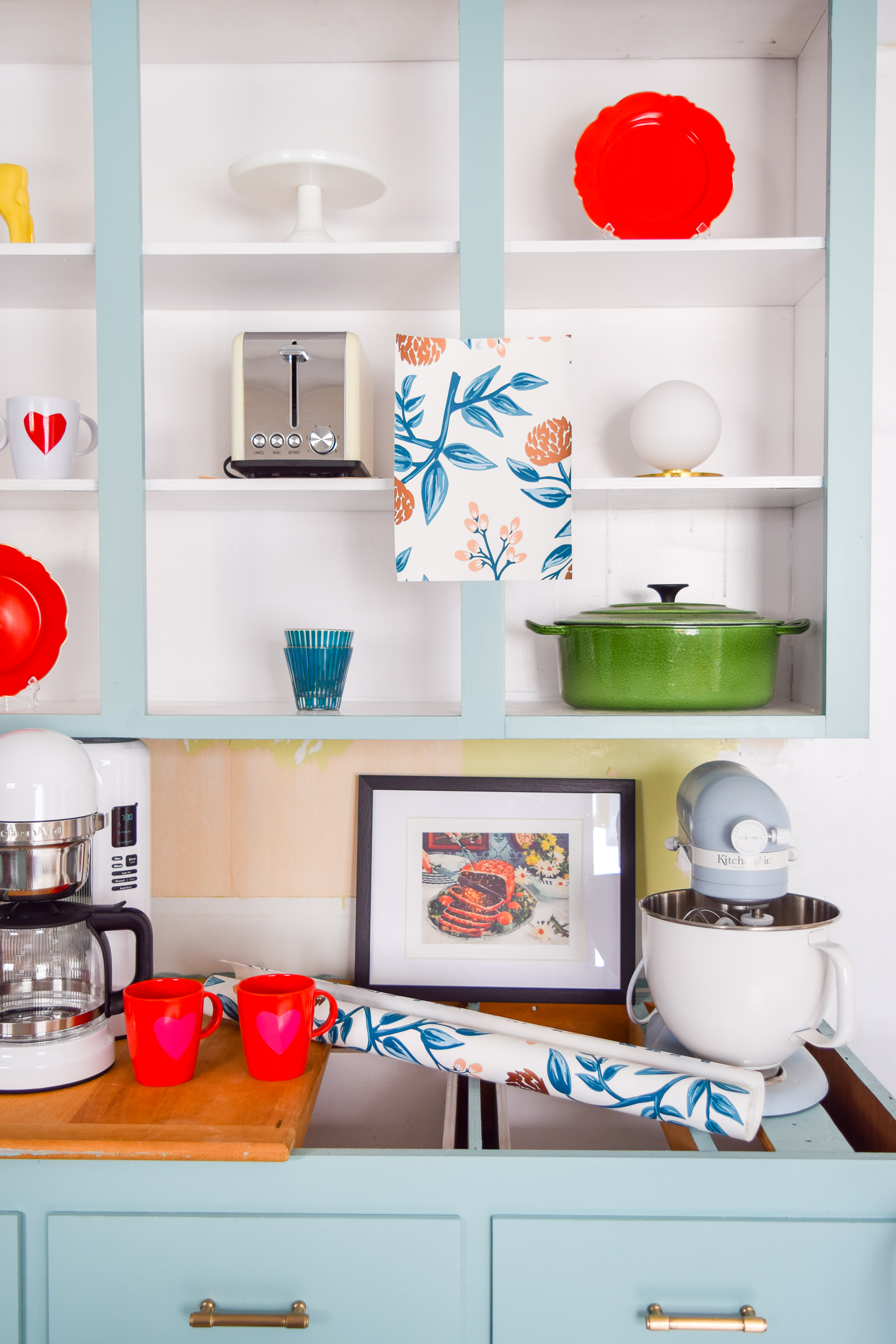 Retro glam kitchen renovation details are all tha counts! Everything from wallpaper, to light fixtures, electrical work, plumbing and more. Come see what's going on behind the scenes during Week 4 of the Spring One Room Challenge.
