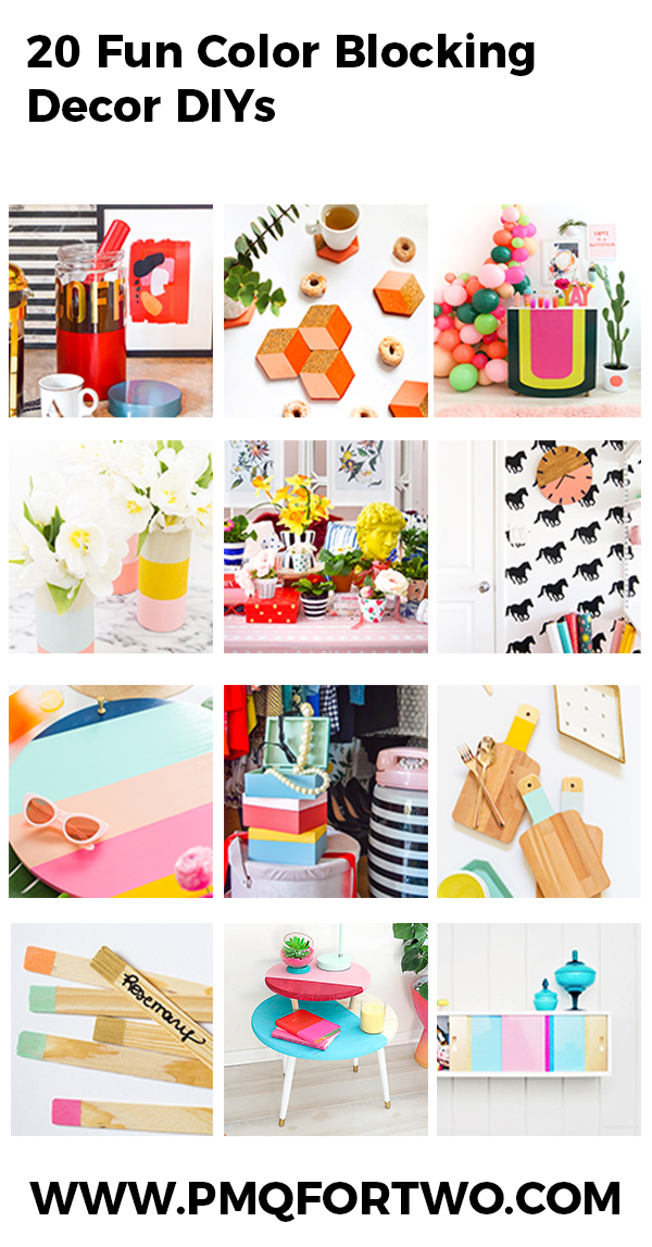 20 Color Blocking Decor DIY's to bring bold color and creativity to your home & garden! Paint is the easiest way to get the look, and these DIYs make it easy!