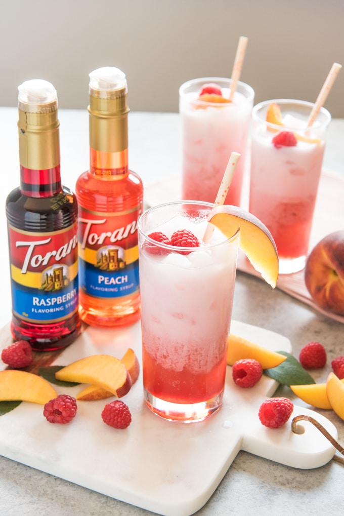 Raspberry Peach Italian Cream Soda recipe from House of Nash Eats