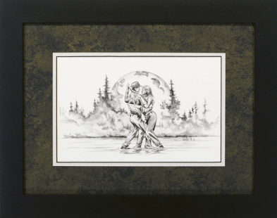 "David Ruimveld art for the chapter entitled ""Blue Moon Dancing"" within Bob Linsenman's book ""Water Songs."" This original black and white painting is framed with a textured black & gold matting and a white inner mat in black frames. Conservation clear glass. Frame size is 15"" x 19""."