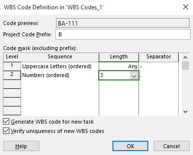 Creating WBS Codes in Microsoft Project 2016 -4
