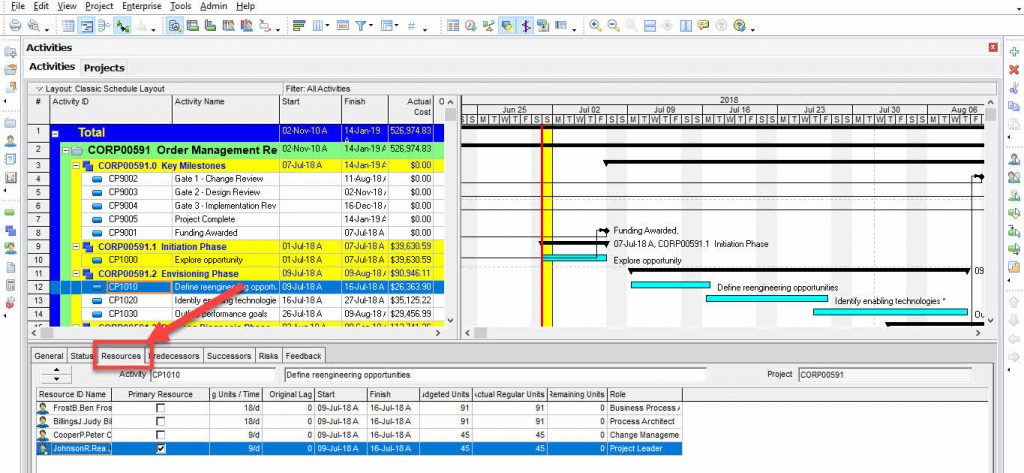 Primavera P6 professional- Activity Resources
