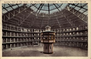 An Illinois State Prison USA - built along the lines of Bentham's Panopticon (Although their guards are visible - a variation on the original model.)