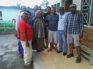 Noel Anjo (with his arm around Belden Namah) and other 'corruption fighters', embrace the political anti-hero and member of the political opposition, in a testament of their true colours.