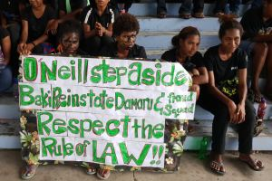 Student protestors in PNG with their den=mands