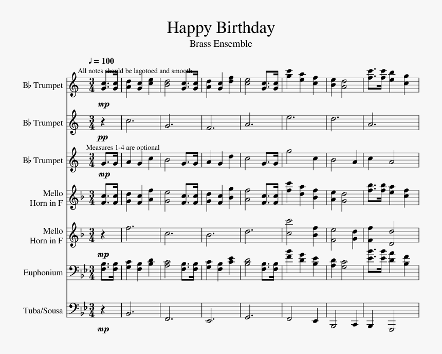Happy Birthday Sheet Music For Trumpet French Horn Happy Birthday Drum Notes Hd Png Download Transparent Png Image Pngitem
