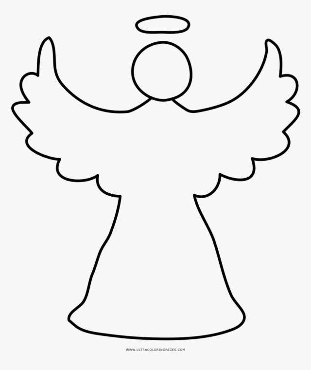 Christmas Angel Coloring Page - Drawing Christmas Angel, HD Png