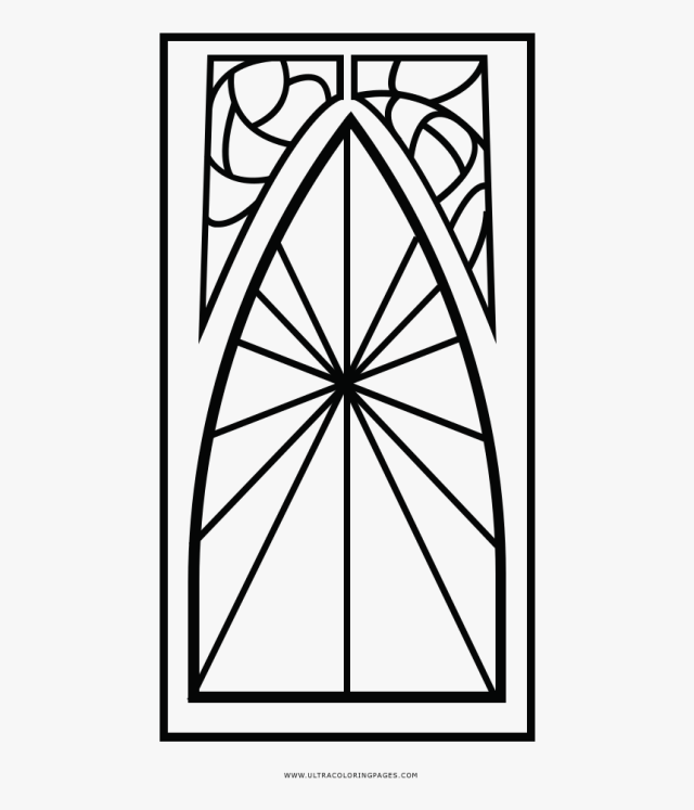 Stained Glass Window Coloring Page - Vitrais Simples Para Colorir