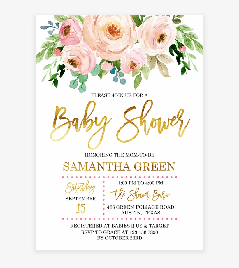 Pink And Gold Fl Baby Shower Invitation Printable Flower Png