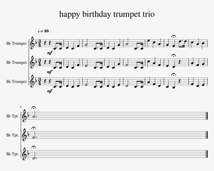 Happy Birthday Trumpet Trio Sheet Music 1 Of 1 Pages Incredibles Theme Song Clarinet Free Transparent Png Download Pngkey