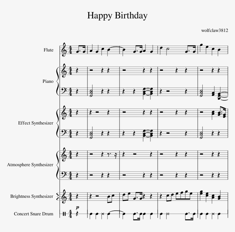 Happy Birthday Creation Sheet Music For Flute Piano Sheet Music Free Transparent Png Download Pngkey