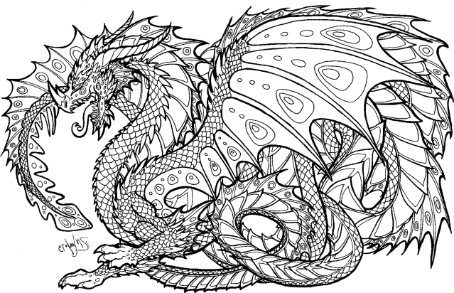 Download Realistic Dragon Coloring Pages For Adults - Adult