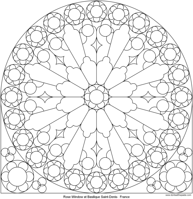 Download Rose Mandala Picture To Color, Stained Glass Window
