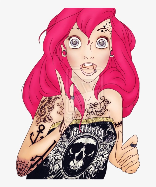 Princess Drawing Hipster - Princesse Disney Punk Rock Ariel