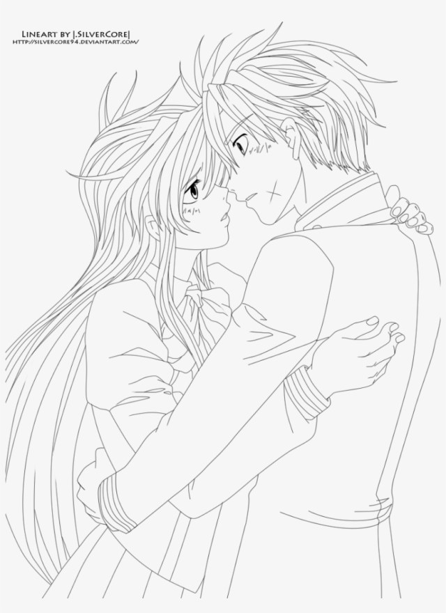 Anime Couple Coloring Page - Coloring Sheet Anime Couple