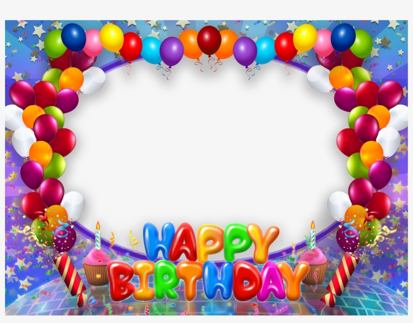 Happy Birthday Transparent Png Frame With Balloons Happy Birthday Photo Frames Png 600x441 Png Download Pngkit